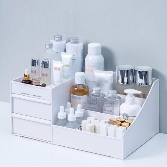 bialy organizer na kosmetyki