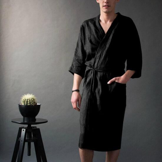 czarny bawełniany szlafrok męski
