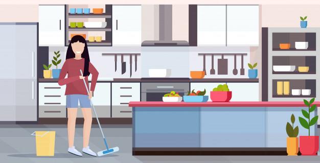 pani sprząta kuchnie