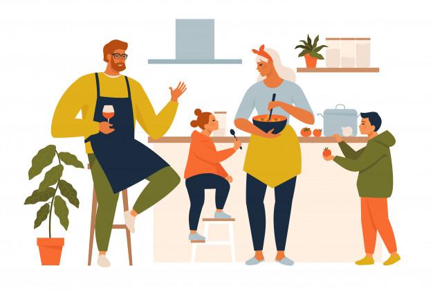 szczęśliwa rodzina wspólnie gotuje