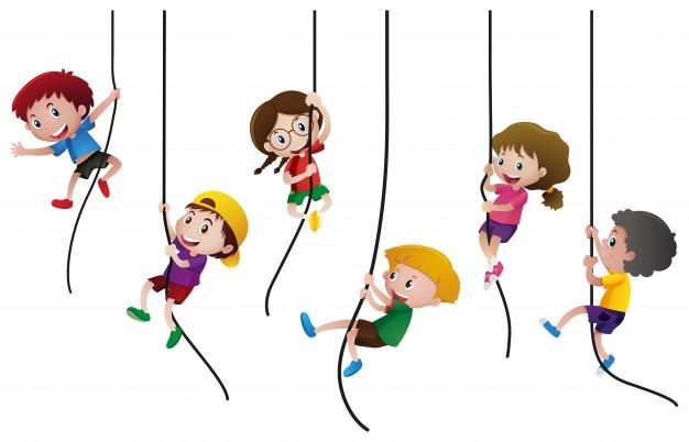 sześcioro dzieci zwisa na linach