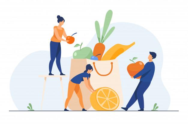 zdrowa dieta, ludzie pakujący owoce do torby