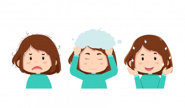 dziewczynka myjąca włosy
