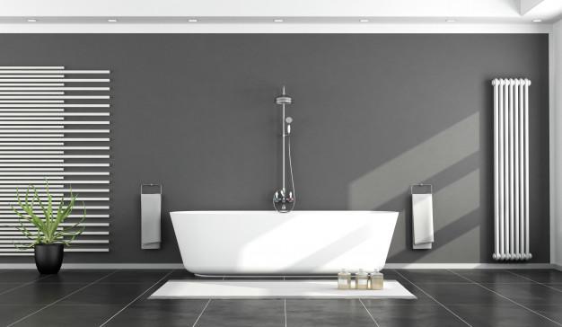 czarno-biała nowoczesna łazienka