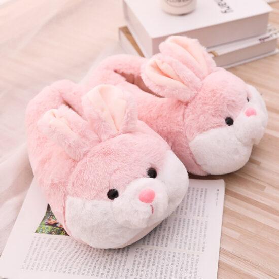 śmieszne kapcie króliki różowe